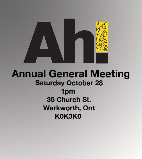 Annual General Meeting Saturday October 28th at 1 PM, 35 Church Street, Warkworth